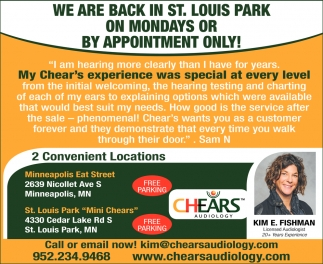 We are Back in St. Louis Park On Mondays or by Appointment Only!
