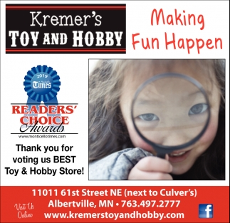 Thank You for Voting Us Best Toy & Hobby Store!