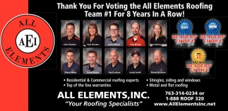 Thank You for Voting the All Elements Roofing Team #1 for 8 Years In A Row!