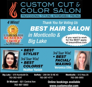 Thank You for Voting Us Best Hair Salon in Monticello & Big Lake