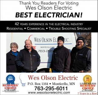 Thank You Readers for Voting Wes Olson Electric Best Electrician!