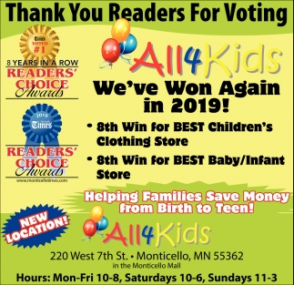 Thank You Readers for Voting All 4 Kids We've Won Again in 2019!