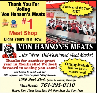 Thank you for Voting Von Hanson's Meats #1 Meat Shop Eight Years in a Row!