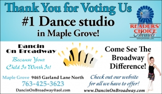 Thank You for Voting Us #1 Dance in Maple Grove!