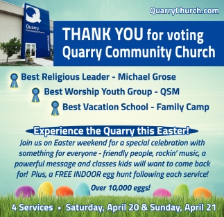 Thank You for Voting Quarry Community Church Best Religious Leader