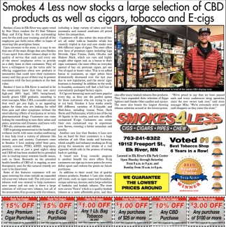 Smokes 4 Less Now Stacks a Large Selection of CBD Products as Well as Cigars, Tobacco and E-Cigs