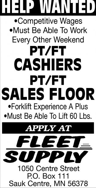Cashiers & Sales Floor