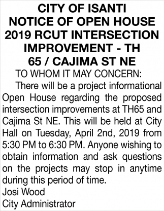 Notice of Open House