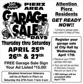 29th Annual Pierz Area Garage Sale Days, 29th Annual Pierz