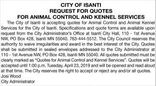 Request for Quotes for Animal Control and Kennel Services