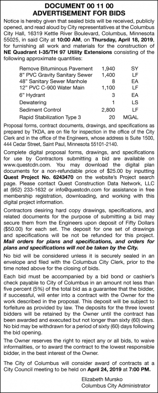 Document 00 11 00 Advertisement for Bids