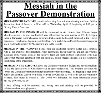 Messiah in the Passover Demonstration