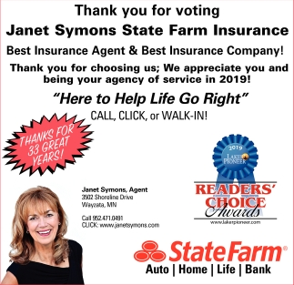 Thank You for Voting Janet Symons State Farm Insurance Best Insurance Agent & Best Insurance Company!