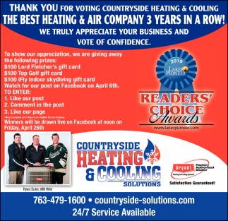 Thank You for Voting Countryside Heating & Cooling the Best Heating & Air Company 3 Years in a Row!