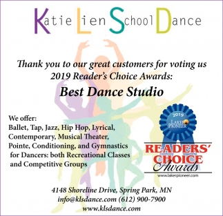 Thank You to Our Great Customers for Voting Us 2019 Reader's Choice Awards: Best Dance Studio