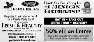 Thank You for Voting Us #1 Mexican Restaurant!