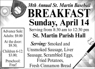 38th Annual St. Martin Baseball Breakfast