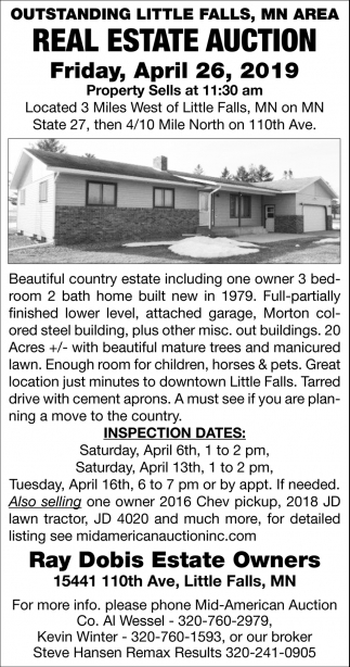 Outstanding Little Falls, MN Area Real Estate Auction
