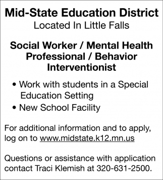 Social Worker/ Mental Health/ Professional/ Behavior Intervetionist