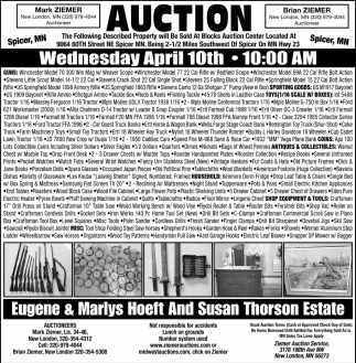 Auction Saturday April 7th