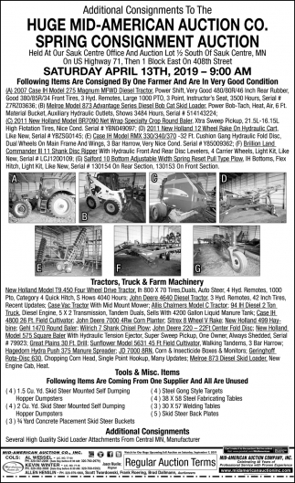 Huge Mid-American Auction Co. Spring Consignment Auction