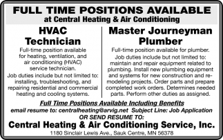 Full Time Positions Available