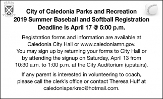 2019 Summer Baseball and Softball Registration Deadline is in April 17