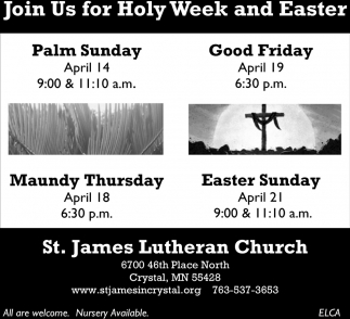 Join Us for Holy Week and Easter