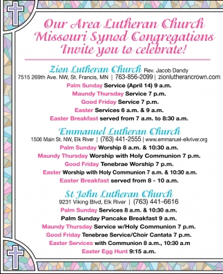 Our Area Lutheran Church Missouri Syned Congregations Invite You to Celebrate!