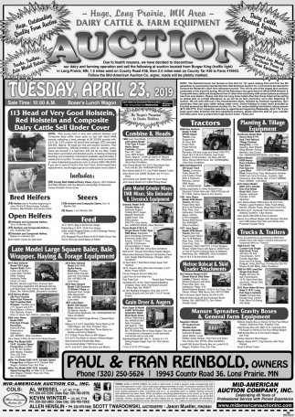 Dairy Cattle & Farm Equipment Auction, Mid-American Auction