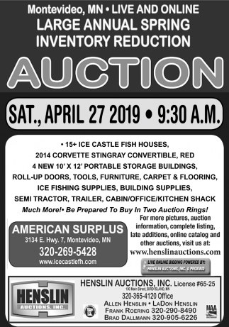 Large Annual Spring Inventory Reduction Auction