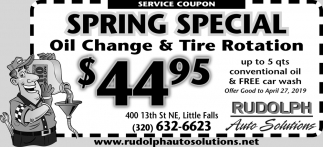 Spring Special Oil Change & Tire Rotation