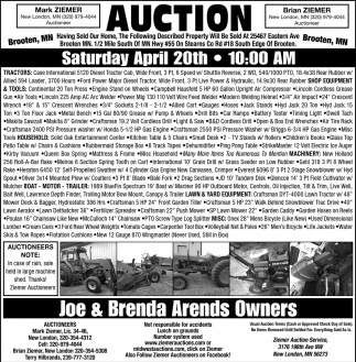 Auction Saturday April 20th