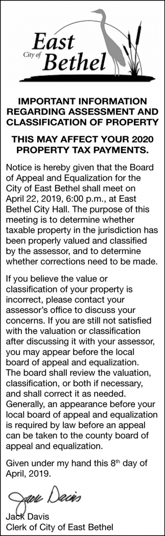 Important Information Regarding Assessment and Classification of Property