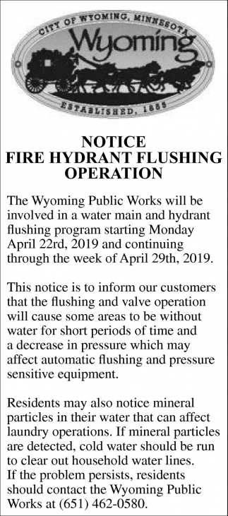 Notice Fire Hydrant Flushing Operation