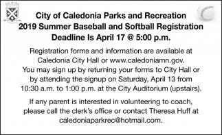 2019 Summer Baseball and Softball Registration Deadline is in April 17
