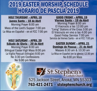 2019 Easter Worship Schedule