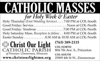 Catholic Masses for Holy Week & Easter
