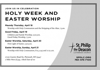 Join Us in Celebration Holy Week and Easter Worship
