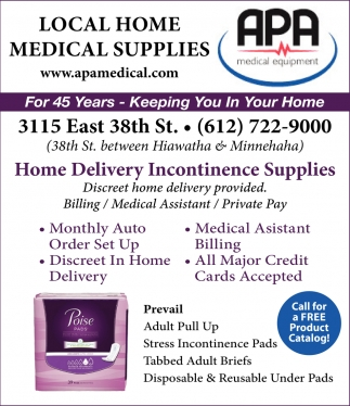 new concept 4cb0d b9e6c Ads for APA MEDICAL EQUIPMENT CO. in Minneapolis, MN
